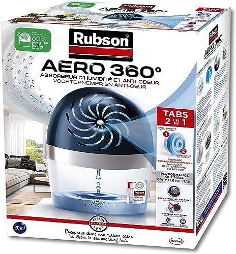 Rubson AERO 360° Absorbeur d'humidité pour pièces de 20 m², déshumidificateur d'air anti odeurs & anti moisissure, in...