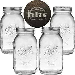 Ball Mason Jars 32 oz Bundle with Non Slip Jar Opener- Set of 4 Quart Size Mason Jars with Regular Mouth - Canning Glass Jars with Lids, Heritage Collection