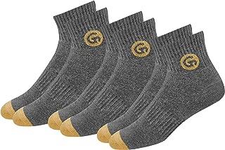 GLINTO Men's Premium Cushioned Cotton Athletic Quarter Socks, (3 or 6 packs,Free Size)