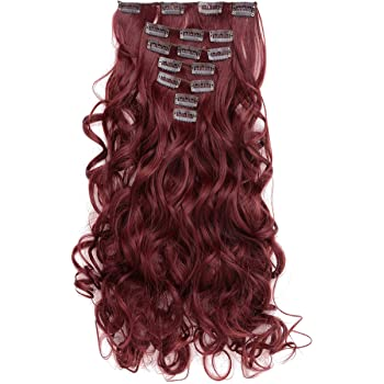 "OneDor 20"" Curly Full Head Clip in Synthetic Hair Extensions 7pcs 140g (#99J Wine red)"