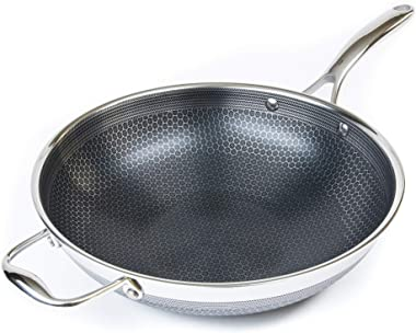 "Hexclad Hybrid Nonstick Cookware 12"" Wok, PFOA Free, Metal Utensil Safe, Induction Ready"