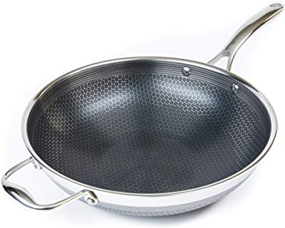 HexClad Hybrid 12-Inch Hybrid Stainless Steel Wok Pan with Stay-Cool Handle - PFOA Free, Dishwasher and Oven Safe, Non Stick, Works with Induction, Ceramic, Electric, and Gas Cooktops