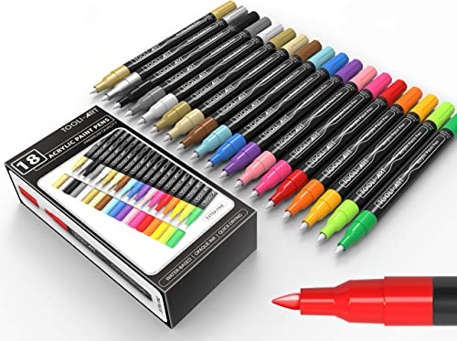 TOOLI-ART 18 Acrylic Paint Pens Assorted Markers Set 0.7mm Extra Fine Tip for Rock, Canvas, Mugs, Most Surfaces. Non ...