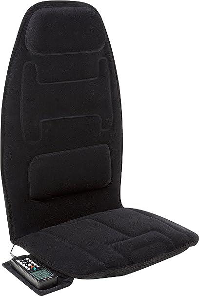 Relaxzen 10-Motor Massage Seat Cushion with Heat and Extra Foam, Black: image