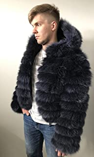 Bomber Men coat jacket Hood natural fur fox
