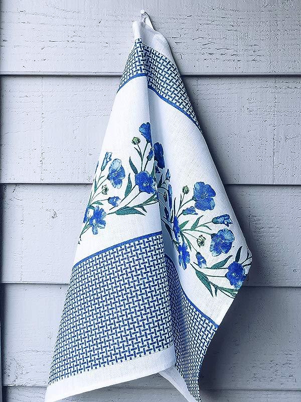 Kitchen Pure Linen Towel Flax Set Of 2 Fiber Napkins Premium 100 Linen Made In Europe Premium Quality Kitchen Accessories Floral Style