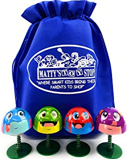 Schylling Frog Poppers Red, Blue, Green & Purple Complete Gift Set Bundle with Matty's Toy Stop Storage Bag - 4 Pack