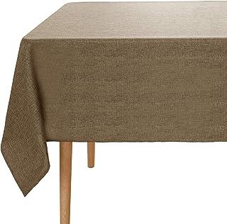 Amazon Brand - Umi Nappe Rectangulaire Taupe Tissu Impermeable Nappe Effet Lin Table de Salon Decoration 150x150cm