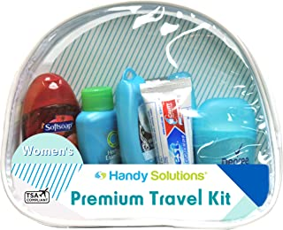 Premium Women's 7Piece Travel Size Kit Includes Twin Blade, Toothbrush, Pantene Shampoo, Conditioner,° Antiperspirant, Toothpaste, Softsoap body Wash (Tsa Compliant)