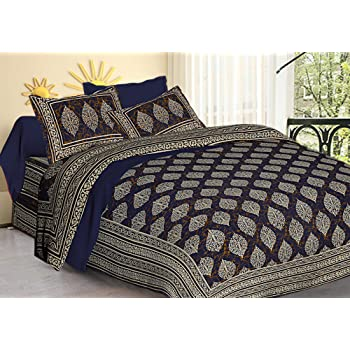 TIGER EXPORTS Cotton 220 TC Bedsheet (Blue_King)