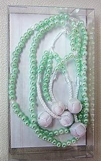 ノーブランド品 仏壇創価学会SGI 念珠 グリーンパール かがり梵天 8寸(直径約24cm)