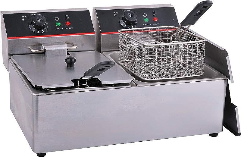 Hakka Commercial Stainless Steel Deep Fryers Electric Professional Restaurant Grade Turkey Fryers 8 Liter X2