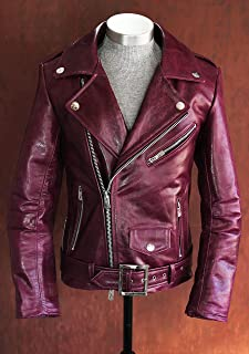 Men's Mulberry Deep Purple Thick Calfskin Leather Jacket with Silver Hardware