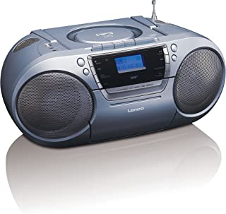 Lenco SCD-680 Silver, Portable Stereo DAB+ & FM Radio with CD, Cassette and USB Player - Grey Boombox