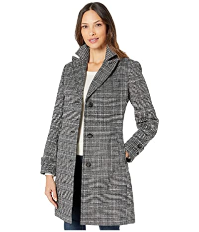 Vince Camuto Single Breasted Wool Coat V29723A (Multi Plaid) Women