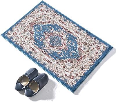 ラグズファクトリー 玄関マット 室内 おしゃれ 北欧 ペルシャ柄 レグナ ブルー 60x90