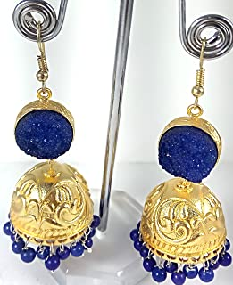 in Brass with Duji Stone in Blue Color Earring with use Blue Color Beads Jhumka Earring Unique Design for Women 62 mm x 24 mm
