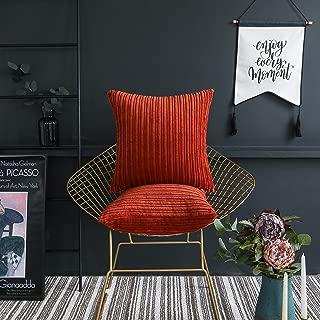 UGASA Nordic Solid Color Striped Velvet Pillow Covers Simple Modern Sofa Cushion Cover Bed Velvet Square Pillowcase, 2 Pc, 20