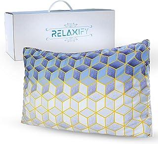 RELAXIFY Almohada ortopédica con funda de almohada de 40 x 60 cm – Almohada de espuma viscoelástica para apoyar su HWS – Altura regulable y lavable – Previene dolores de cuello y migrañas