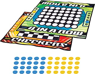 Franklin Sports Checkers and Four in A Row Mat Game - Addictive Family Fun! - Soft Play Mat for Kids of All Ages - Comes with 42 Plastic Pucks