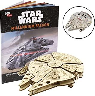 Star Wars Millennium Falcon Book and 3D Wood Model Figure Kit - Build, Paint and Collect Your Own Wooden Movie Toy Model - for Kids and Adults,12+ - 3