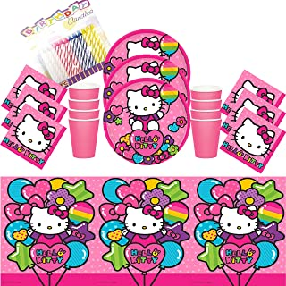 Hello Kitty Rainbow Party Dessert Plates Beverage Napkins Cups and Table Cover Serves 16 - Hello