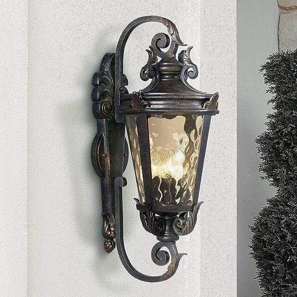 Casa Marseille Outdoor Wall Light Fixture Bronze Scroll 27 1 2 Hammered Glass For House Patio Porch John Timberland