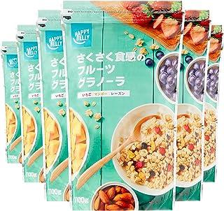 [Amazonブランド]Happy Belly さくさく食感のフルーツグラノーラ 1100g×6袋 (大容量サイズ)