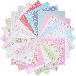 Benvo 144 Sheets Origami Paper Set Craft Folding Paper Japanese Washi Folding Paper for Arts and Crafts- 24 Different Patterns Single Side, 5.6 by 5.6 Inch Square Sheets