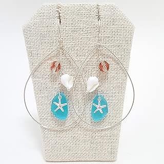 Silver starfish, sea glass, teardrop earrings-Handmade in Hawaii Beach Jewelry