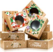 Christmas Cookie Boxes - Bulk 12 Pack Kraft - Large Holiday Christmas Food, Bakery Treat Boxes with Window, Candy and Cook...
