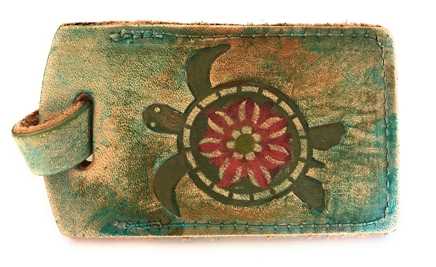 Sea Life Direct sale of manufacturer Blue Green Luggage Tag Nippon regular agency Turtle Leather