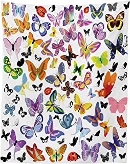 Lunarable Butterfly Tapestry Twin Size, Colorful Wings Design with Ladybugs an Assortment of Summer Season Fauna Elements, Wall Hanging Bedspread Bed Cover Wall Decor, 68
