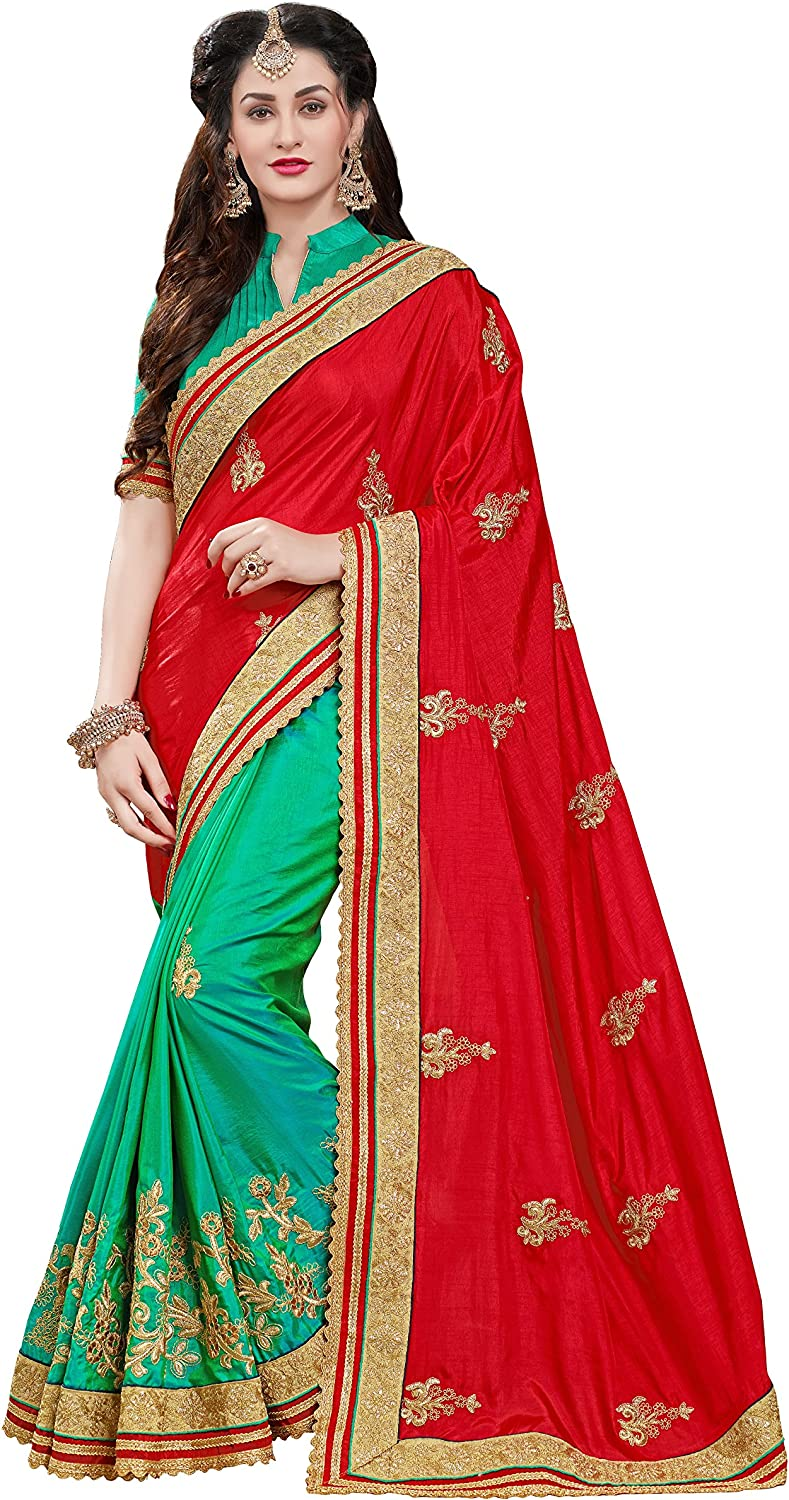 Manohari Women's Silk Saree with Blouse Piece(MN347_Red_Free Size)