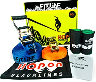HopOn Slacklines Complete Slackline Kit for Kids & Adults - 50 ft Fitline Includes Training Line, 2x Treeguards Tree Protection + Carrying Bag - for Fitness, Balance, Exercise and Fun - Eas