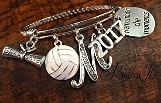 Volleyball gifts, Senior night, GRADUATE, Graduation gift, SENIOR 2019, senior gifts, Class of 2019, Sports, soccer, softball, cheer, dance, Bangle bracelet, charm bracelet