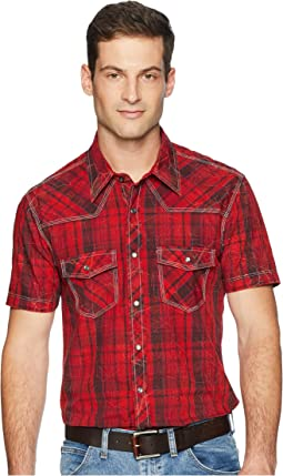 Short Sleeve Snap Plaid B1S4111