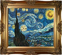 La Pastiche VGG485-FR-6996G20X24 Framed Oil Painting Starry Night Metallic Embellished by Vincent Van Gogh with Victorian ...