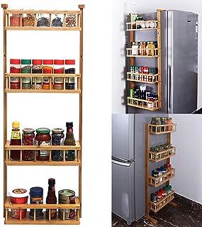Livzing 4 Tier Adjustable Bamboo Storage Rack - Multipurpose Wooden Layer Kitchen Bathroom Organizer Shelves - Fridge Side...