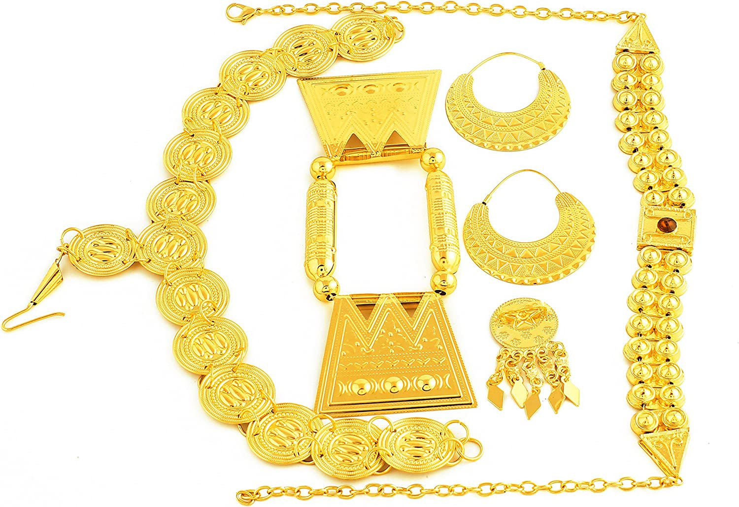 Gold Color Red Stone Women Eritrean Traditional Wedding Jewelry Sets
