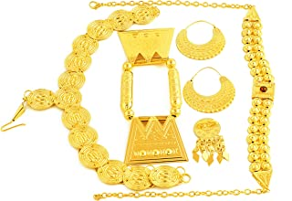 24K Gold Plated Eritrean Ethiopian Traditional Stone Wedding Jewelry Sets Women Wedding
