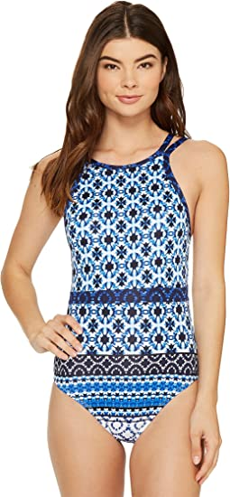 Shibori Splash High-Neck One-Piece Swimsuit