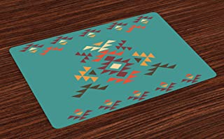 Lunarable Aztec Place Mats Set of 4, Colorful Geometric Shapes on Teal Backdrop Cheerful Design Culture, Washable Fabric Placemats for Dining Table, Standard Size, Teal