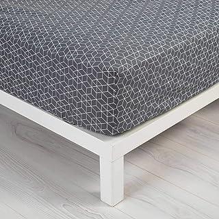 douceur d'intérieur 1641531 OPTIC Drap Housse Coton Anthracite/Blanc 140 x 190 cm