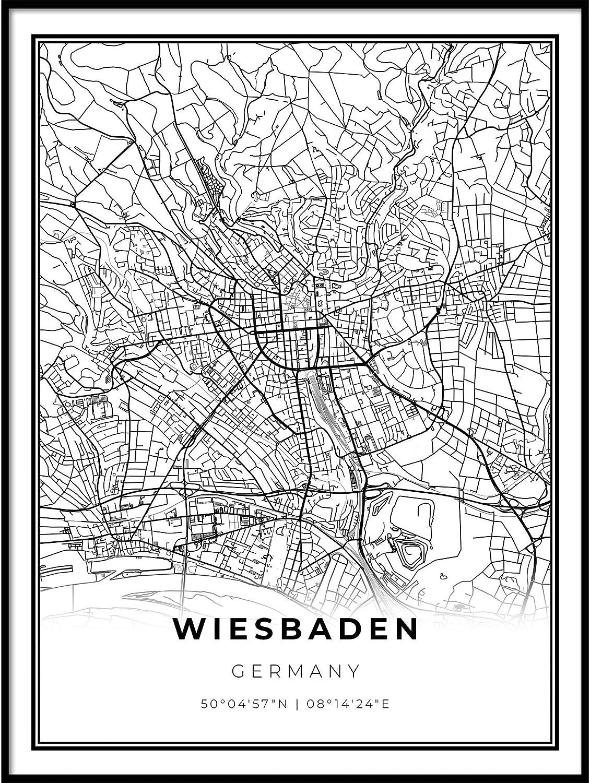 Skanndi Ranking TOP20 Wiesbaden Map Print Germany Poster Darms Hesse Direct stock discount Art