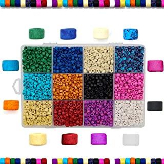 Over 2,400 Ceramic Pony Beads for Jewelry Making with Free Genuine Leather Cord Necklace - Handmade Colorful Premium Quality Craft Bead Kit - Unique Craft Supplies