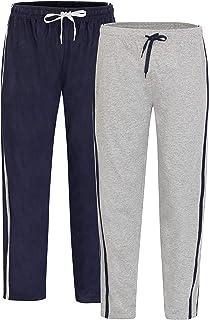 2 Pack Men's 100% Cotton Lounge Wear Pants with Elasticated Waist Super Soft Cosy Comfy Pyjamas Nightwear Loungewear PJs