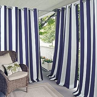 Elrene Home Fashions Aiden Indoor/Outdoor Cabana Stripe Grommet Top Single Panel Window Curtain Drape, 50