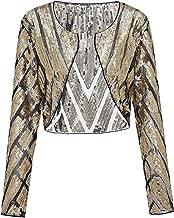 Metme Women Evening Wrap Shawl Bridal Stole 1920's Flapper Bolero Sequined Jacket Cape Cropped Shrug Cardigan