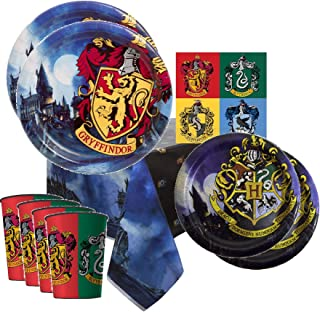 Harry Potter Party Supplies Tableware Bundle Pack For 8 Guests - Includes 8 Dinner Plates, 8 Dessert Plates, 8 Reusable Plastic Cups, 16 Dinner Napkins, and 1 Tablecover